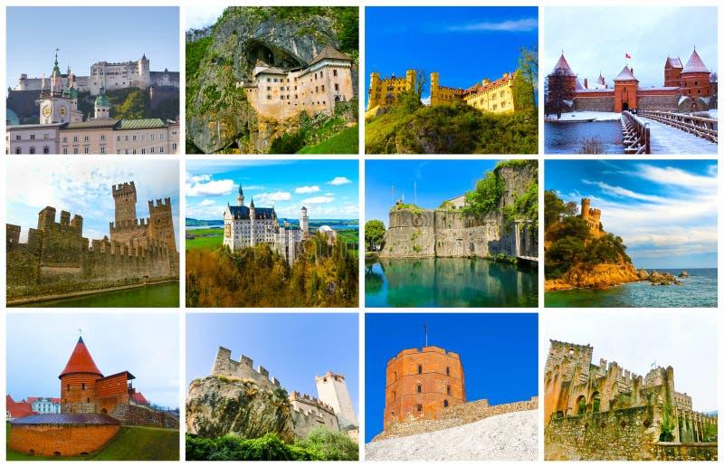El collage de imágenes de la mayoría de los castillos populares de Europa fotografía de archivo libre de regalías