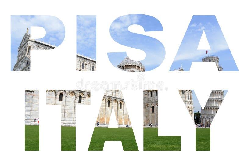 El collage de la foto pone letras a PISA ITALIA con el fondo magro de la torre fotos de archivo libres de regalías