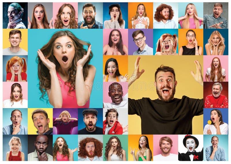 El collage de la gente sorprendida foto de archivo libre de regalías