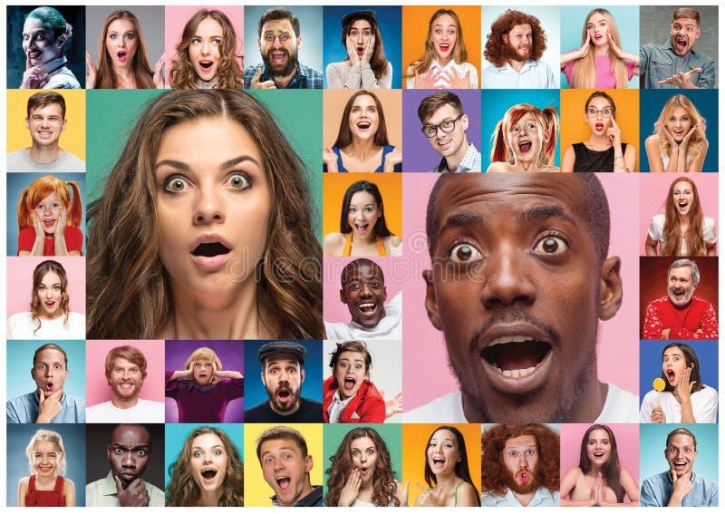El collage de la gente sorprendida imágenes de archivo libres de regalías