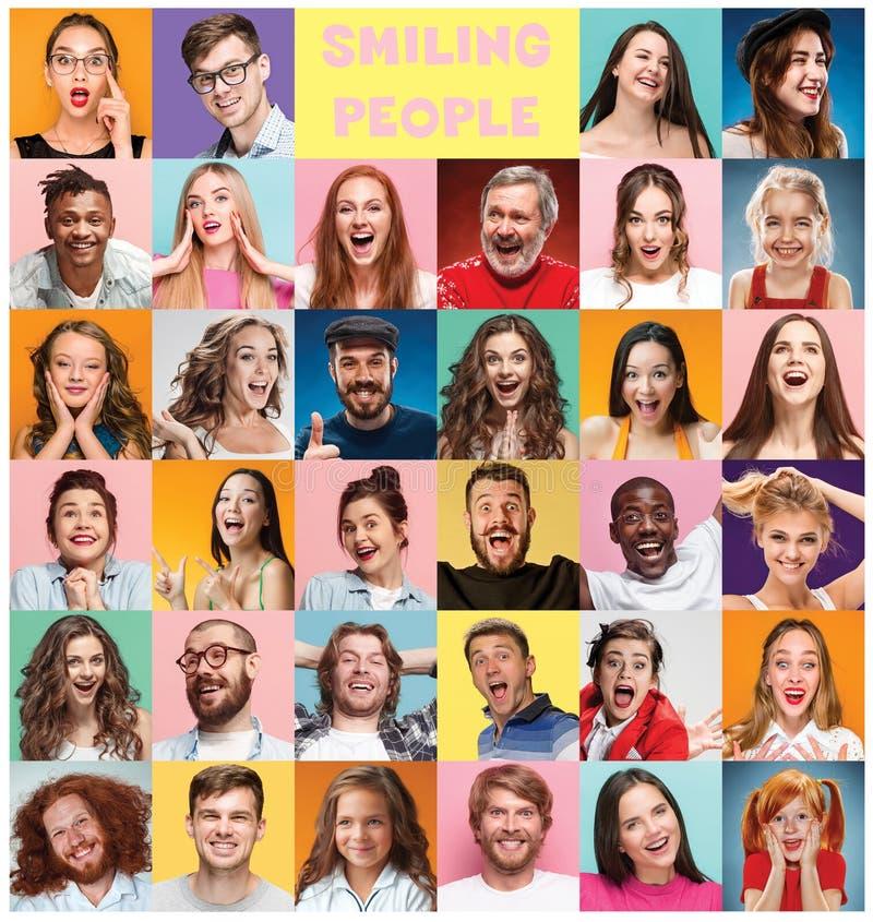 El collage de la gente sorprendida imagen de archivo