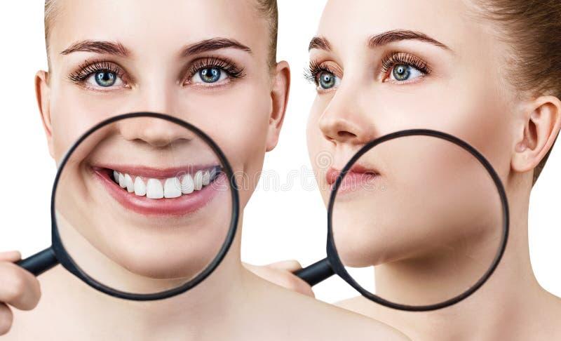 El collage de la mujer con la lupa muestra los dientes y la piel imagen de archivo