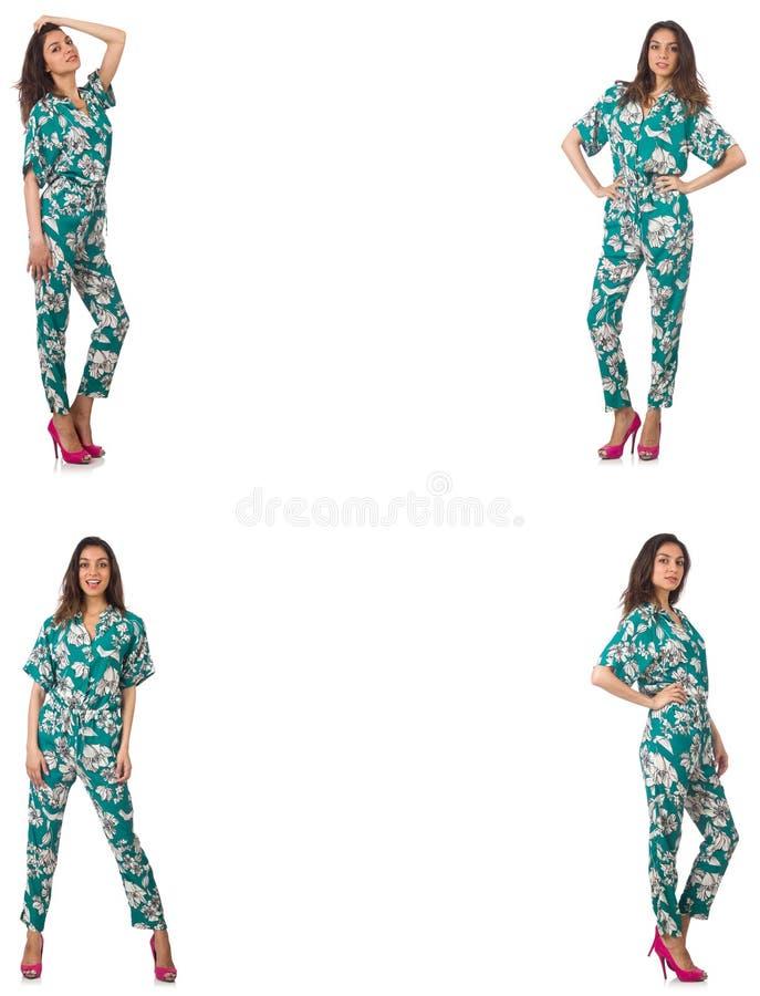 El collage de la mujer en mirada de la moda aislada en blanco foto de archivo