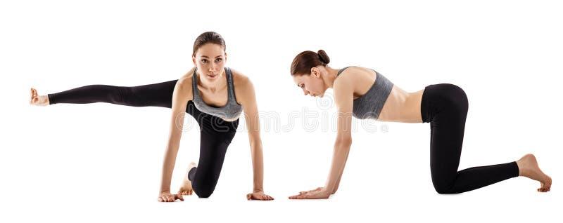 El collage de la mujer joven está entrenando a yoga foto de archivo