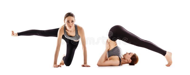 El collage de la mujer joven está entrenando a yoga imagenes de archivo