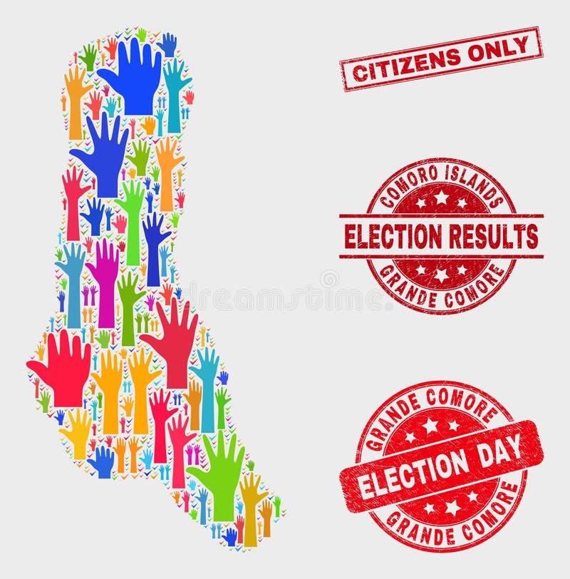 El collage de los grandes ciudadanos del mapa y de la desolación de la isla de Comore de la elección sella solamente stock de ilustración