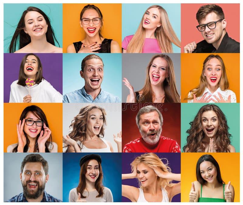 El collage de los retratos de mujeres con la expresión facial sonriente foto de archivo