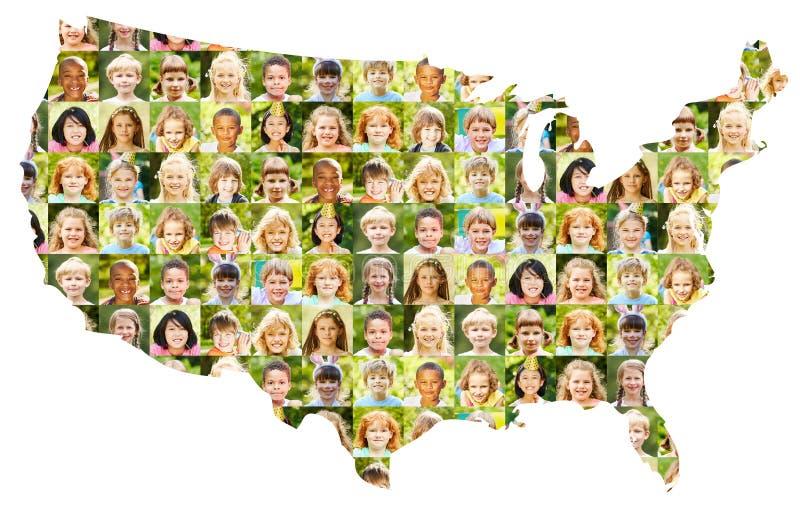 El collage del retrato de los niños en los E.E.U.U. traza fotografía de archivo