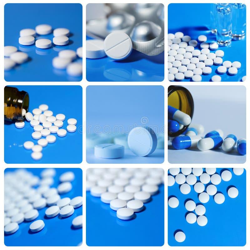 El collage incluye blanco en las tabletas de un fondo del azul, píldoras fotos de archivo