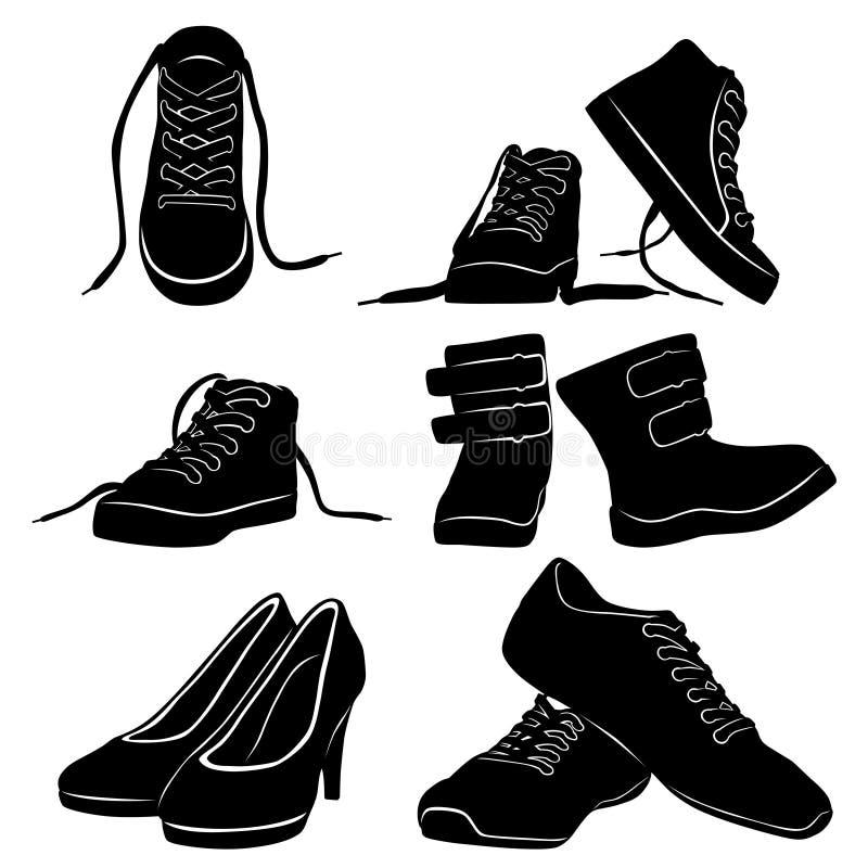 El collage siluetea el zapato negro stock de ilustración