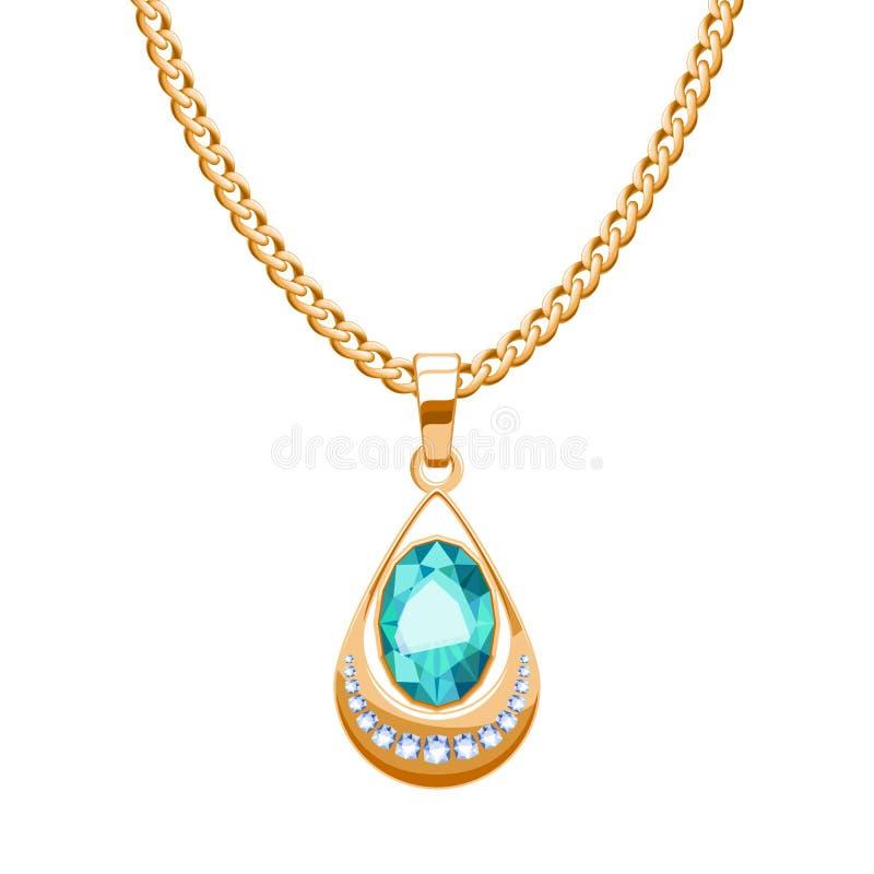 El collar de la cadena de oro con los diamantes y el descenso pendiente de las piedras preciosas de la esmeralda forma stock de ilustración