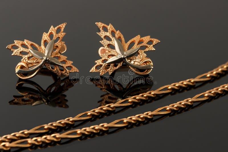 El collar del oro y los pendientes bajo la forma de hojas de arce embellecen fotografía de archivo