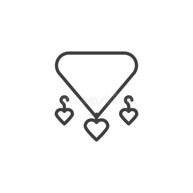 El collar y los pendientes del corazón alinean el icono stock de ilustración