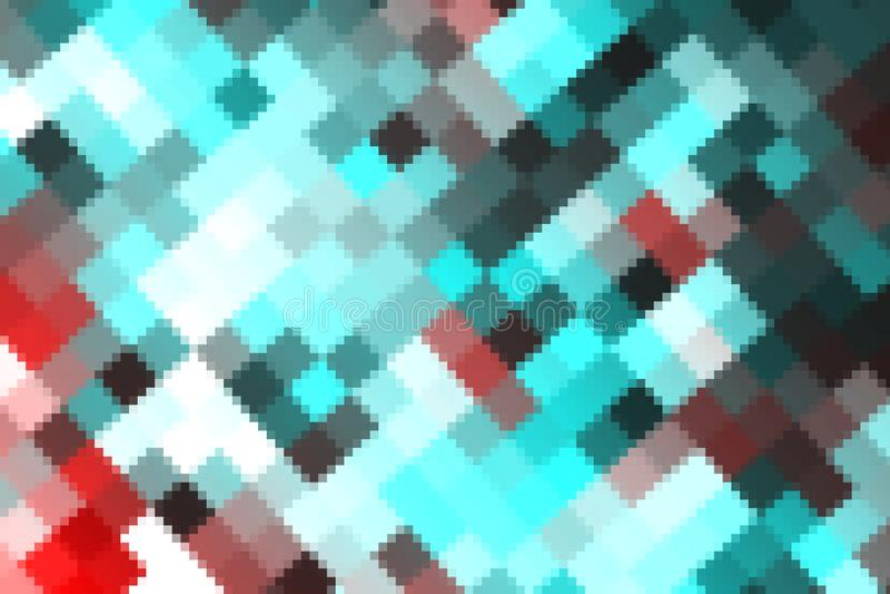 el color abstracto colorido cristaliza tono azul rojo del arco iris cuadrado grande y pequeño del arte stock de ilustración