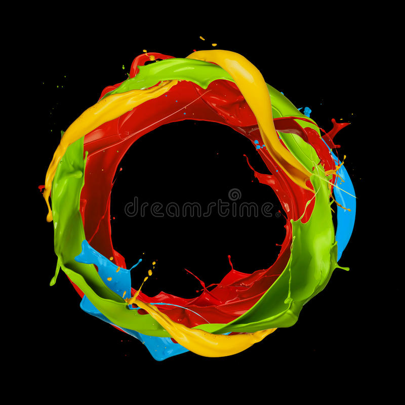 El color abstracto salpica el círculo en fondo negro stock de ilustración