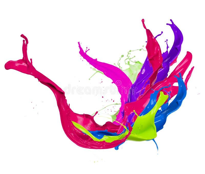 El color abstracto salpica en el fondo blanco stock de ilustración