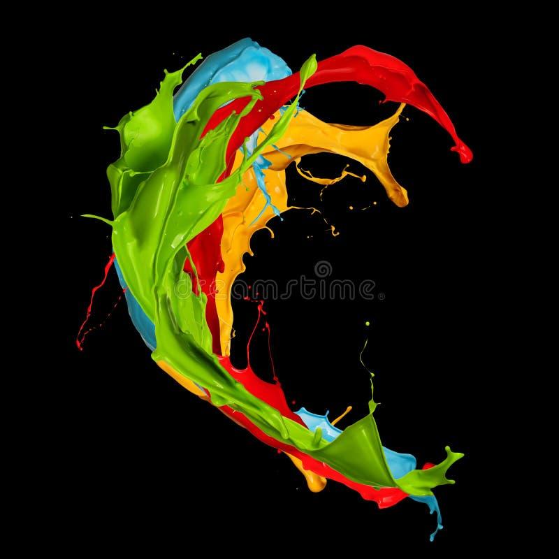 El color abstracto salpica en fondo negro ilustración del vector