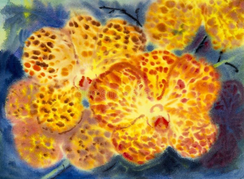 El color anaranjado de la pintura original abstracta de la acuarela de la orquídea florece foto de archivo