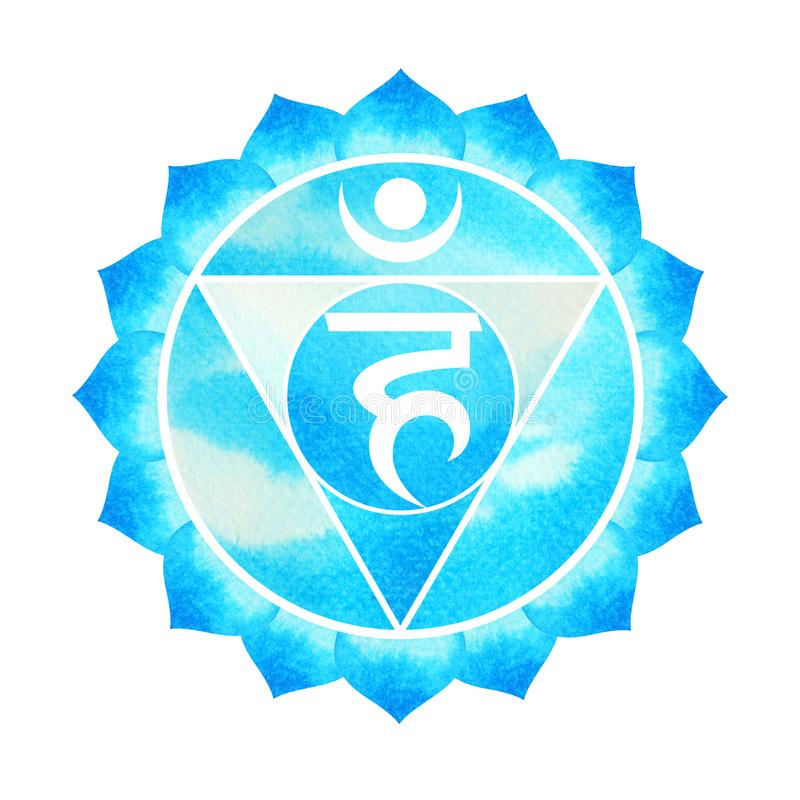 El color azul del concepto de la garganta del símbolo del chakra, florece floral stock de ilustración