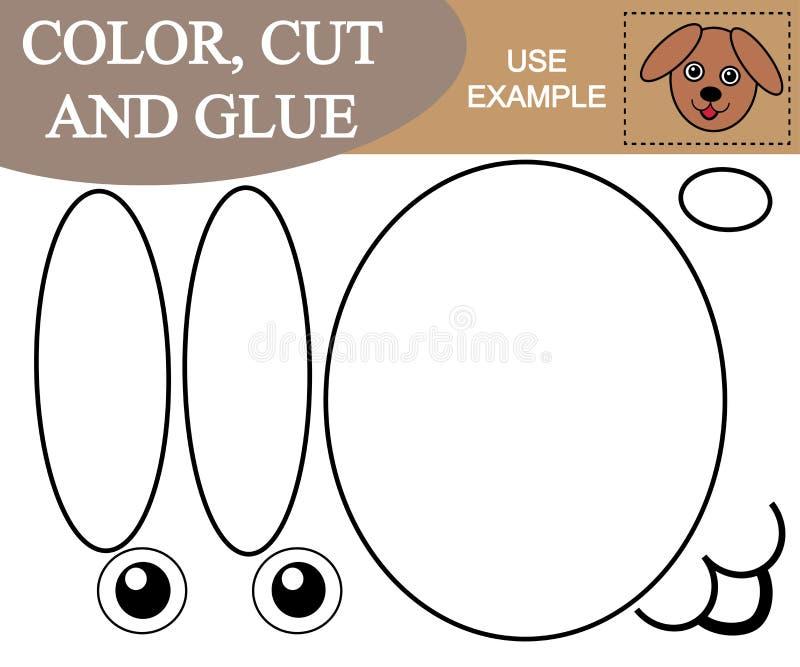 El color, corte, pega la imagen del perro de la cara Juego educativo para la ji stock de ilustración