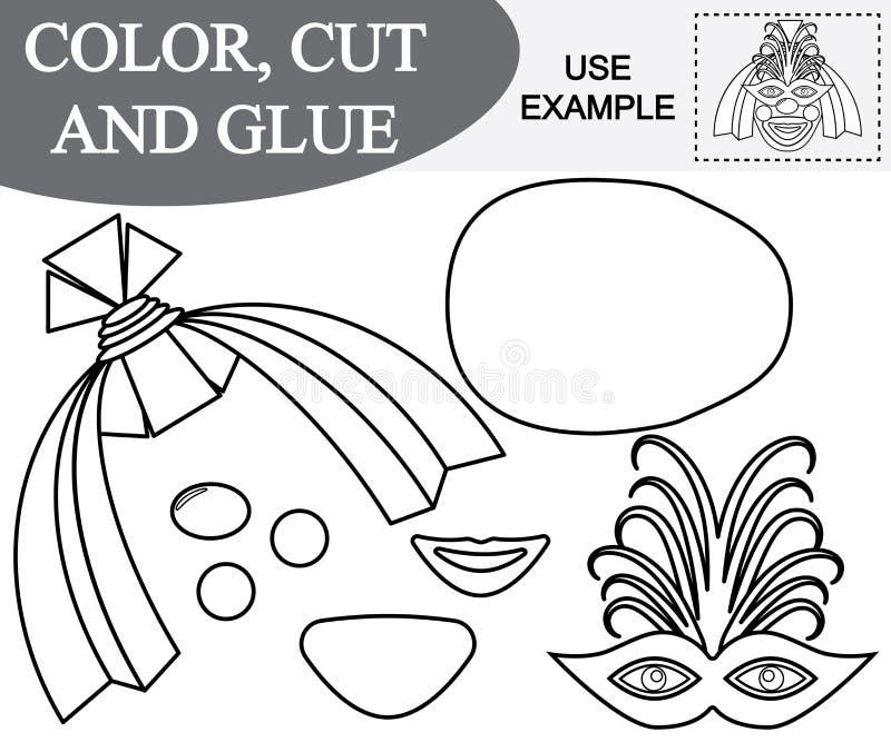 El color, corte y pega la imagen de la cara femenina del payaso libre illustration