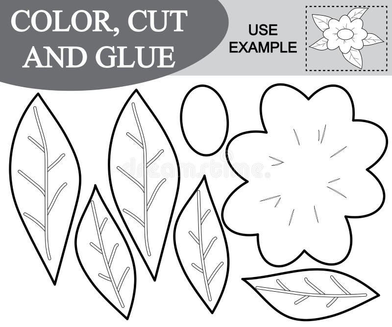 El color, corte y pega la imagen de la historieta de la flor Juego educativo para los niños libre illustration