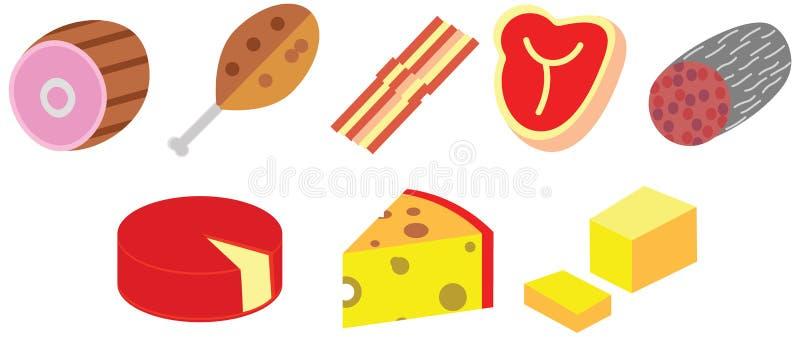 El color de la historieta garabatea el queso plano de la carne come el sistema del paquete de la comida stock de ilustración