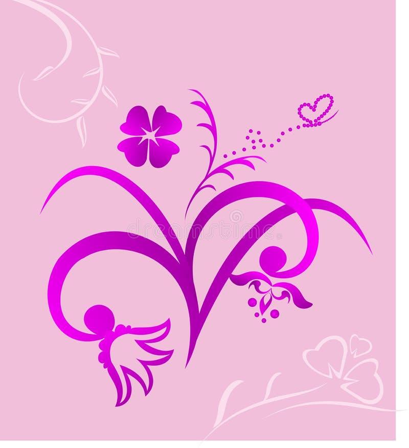 El color de rosa lindo florece el fondo stock de ilustración