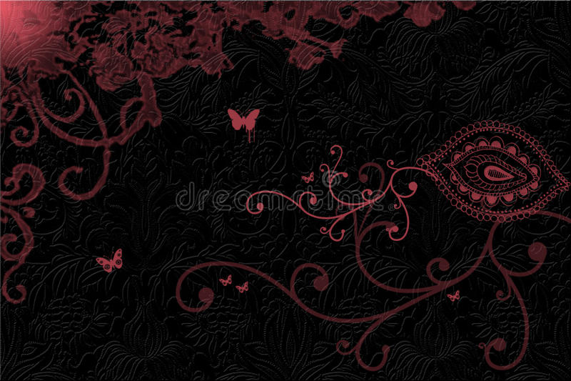 El color de rosa remolina en fondo oscuro stock de ilustración