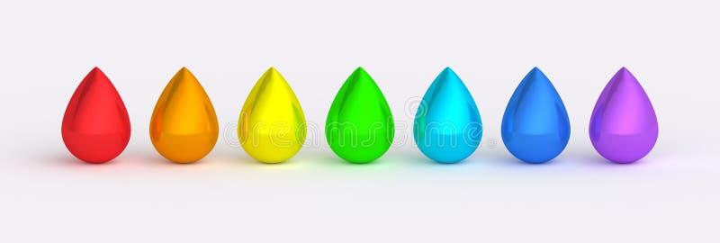 El color del arco iris cae texturas reflexivas stock de ilustración
