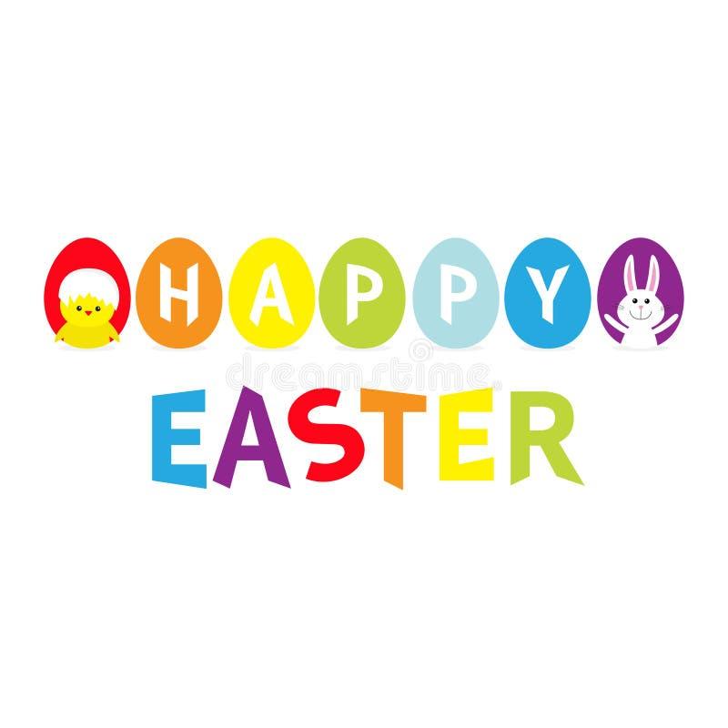 El color del arco iris pintó la línea determinada fila del huevo Texto colorido feliz de Pascua Cáscara de huevo de pintura siete libre illustration