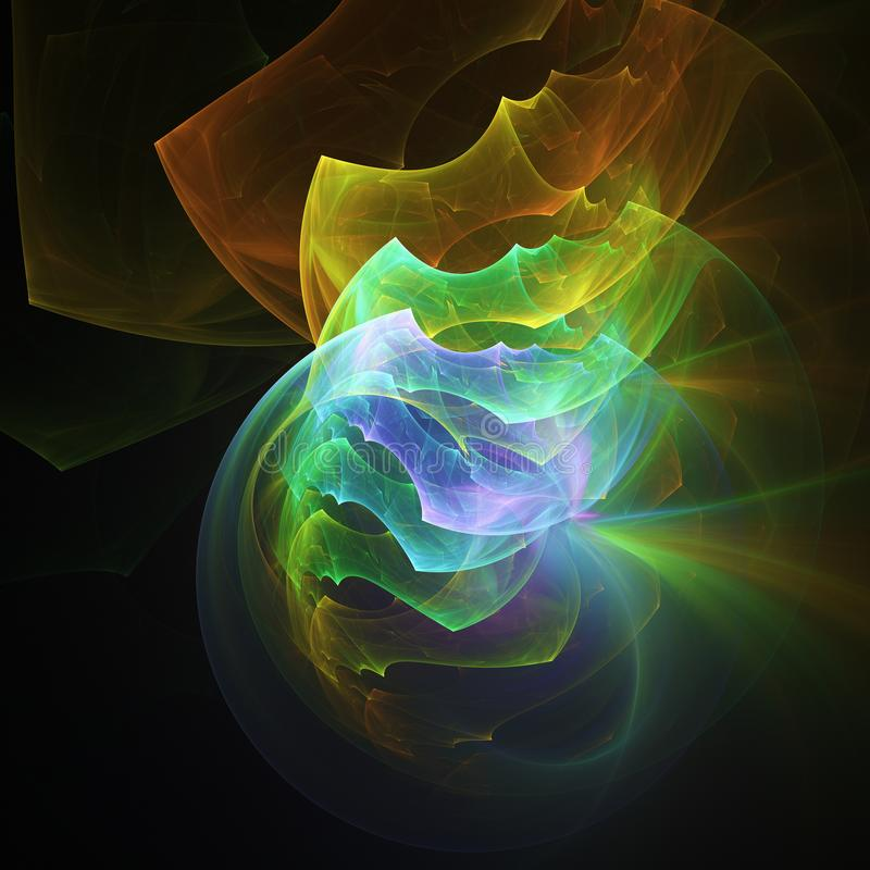 El color del arco iris que brillaba intensamente curvó líneas de la energía sobre el universo abstracto oscuro del espacio del fo stock de ilustración