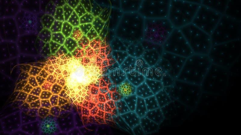 El color del arco iris que brillaba intensamente curvó líneas de la energía sobre el universo abstracto oscuro del espacio del fo libre illustration