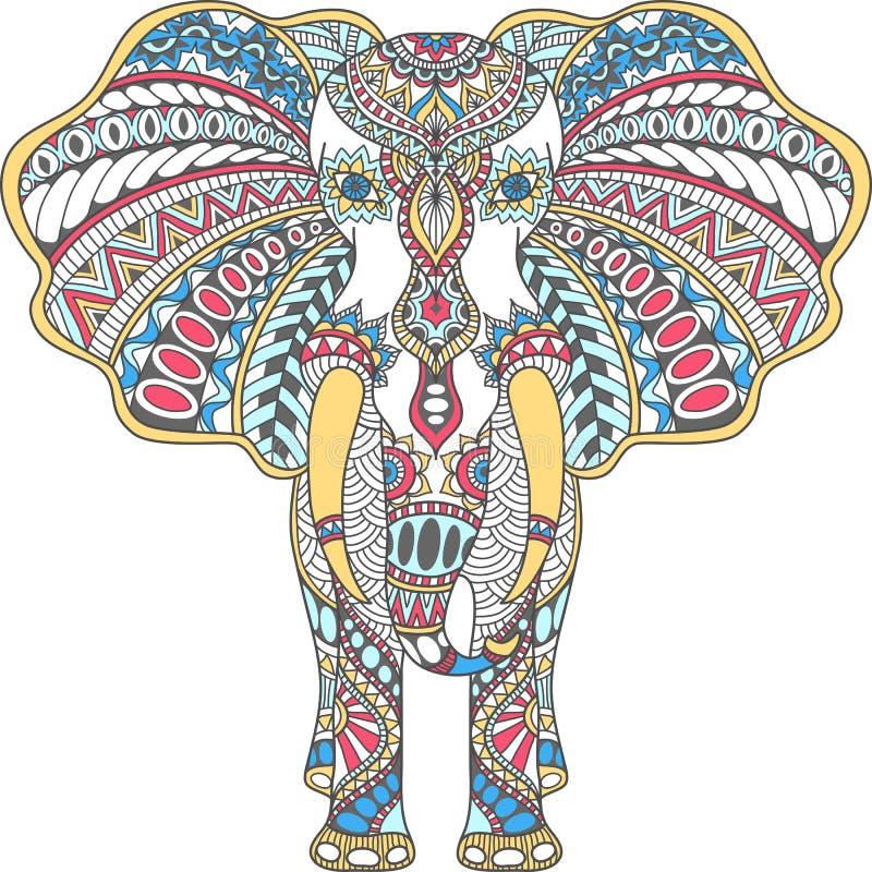 El color del vector adornó el elefante indio stock de ilustración