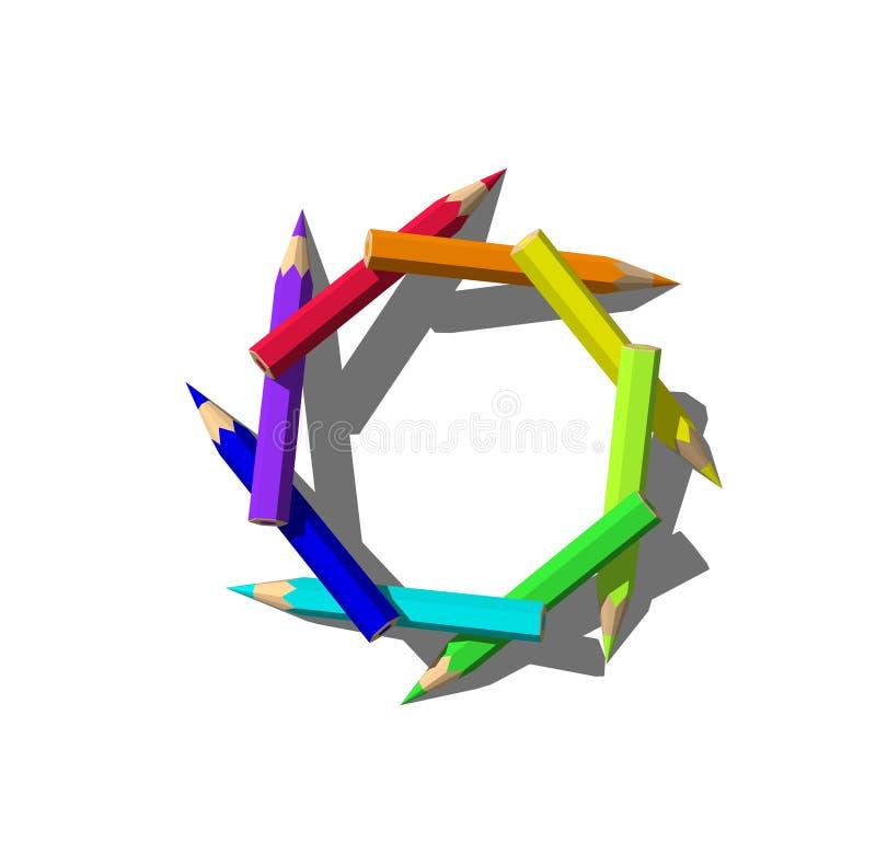El color dibujó a lápiz el marco Aislado en el fondo blanco representación 3d ilustración del vector