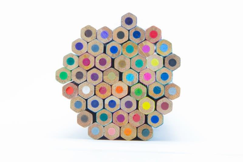 El color múltiple de madera dibujó a lápiz la visión inferior imagen de archivo