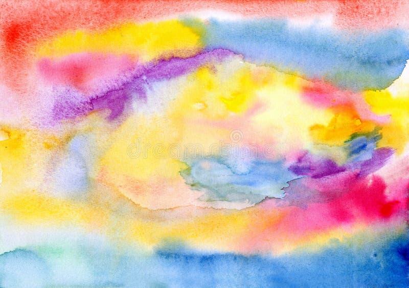 El color mojado mancha - las pinturas de las acuarelas derramadas en el papel ilustración del vector