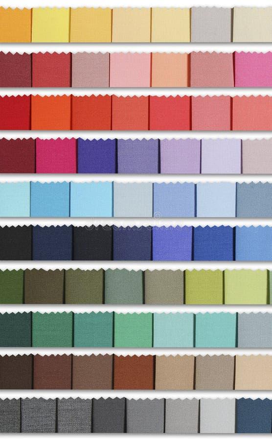 El color muestrea la gama de colores de la tela imagenes de archivo