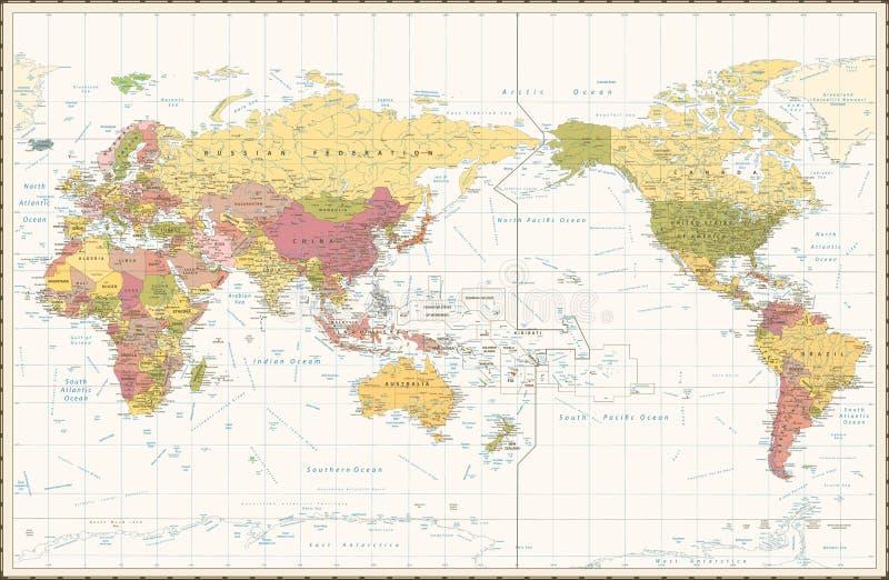 El color retro el Pacífico del mapa del mundo se centró libre illustration