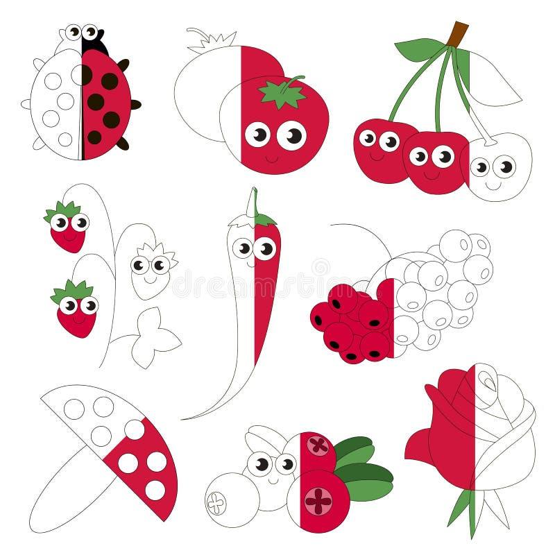 El color rojo divertido se opone, el juego grande del niño que se coloreará por ejemplo medio ilustración del vector