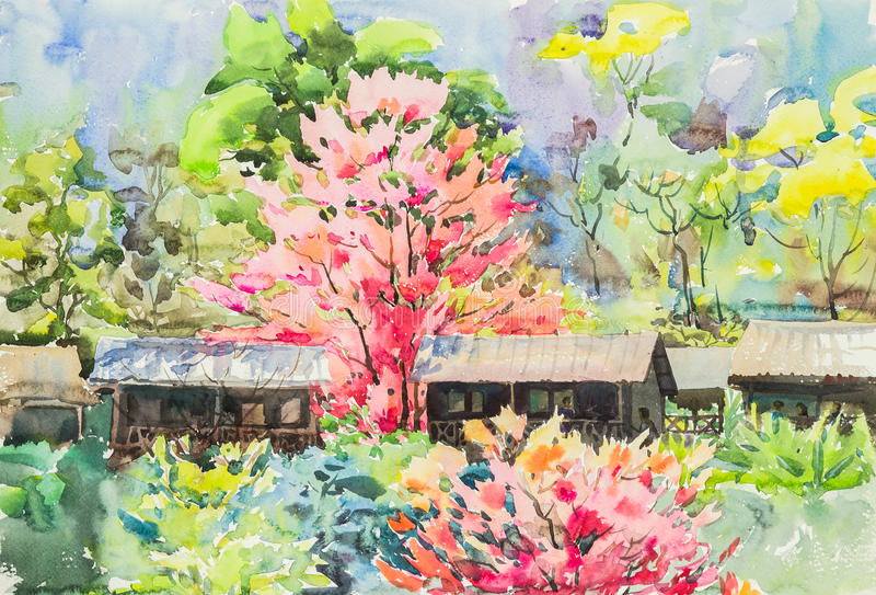 El color rosado original del amarillo de la pintura de paisaje de la acuarela, verde y púrpura de Sakura florece ilustración del vector