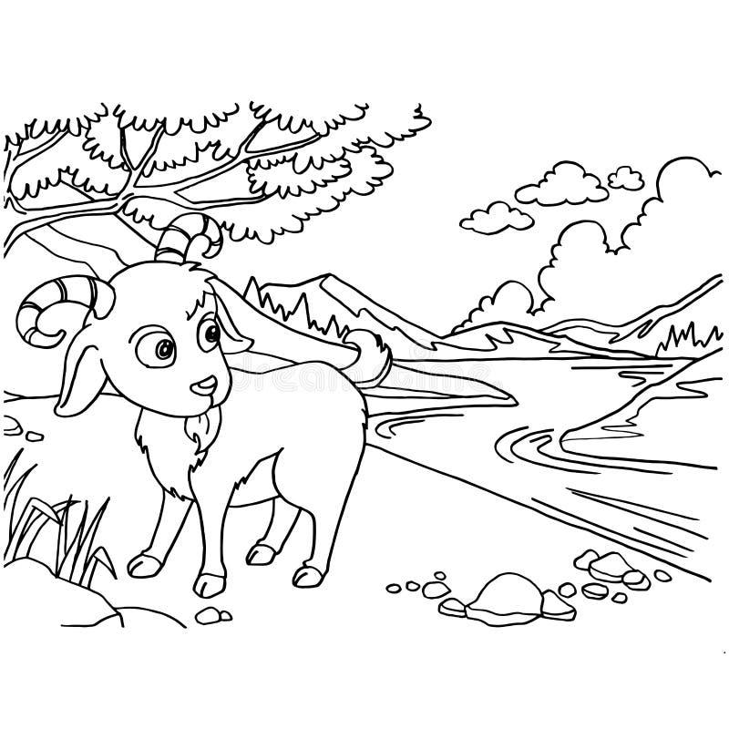El colorante de la cabra pagina vector ilustración del vector
