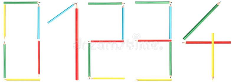 El colorante dibujó a lápiz números 0-4 imagen de archivo libre de regalías