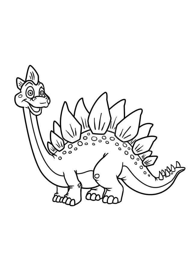El colorante pagina el dinosaurio ilustración del vector