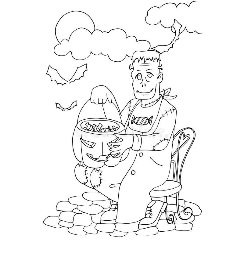 El Colorante Simple Para El Tema De Halloween Hizo A Mano El Dibujo ...