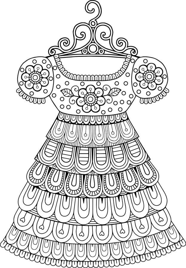 El Colorear Antiesfuerzo Para Los Adultos Vestido Decorativo Del ...