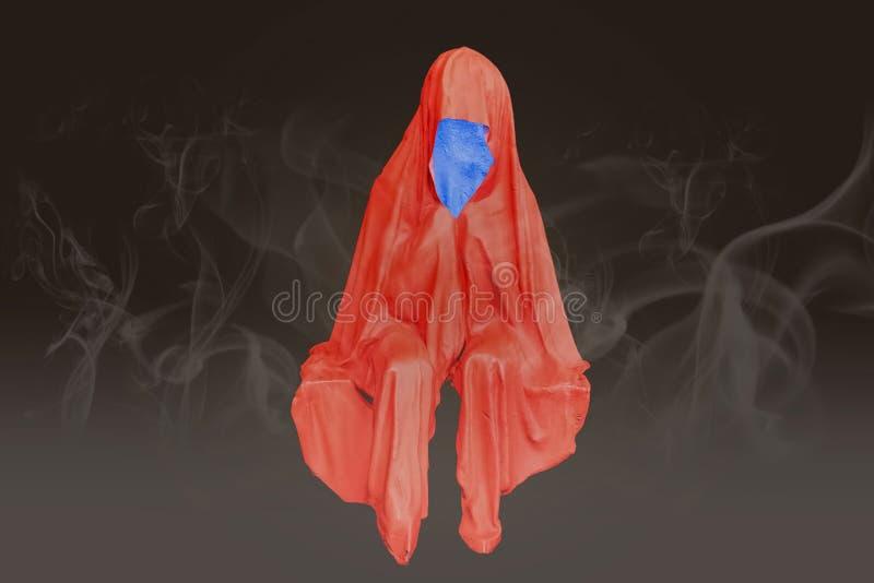 El colorfull abstracto que no sienta ningún fantasma de la cara con la niebla fuma el fondo foto de archivo libre de regalías