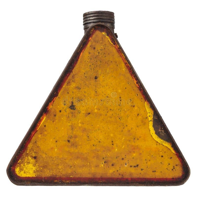 El combustible triangular del vintage puede aislado en blanco fotografía de archivo