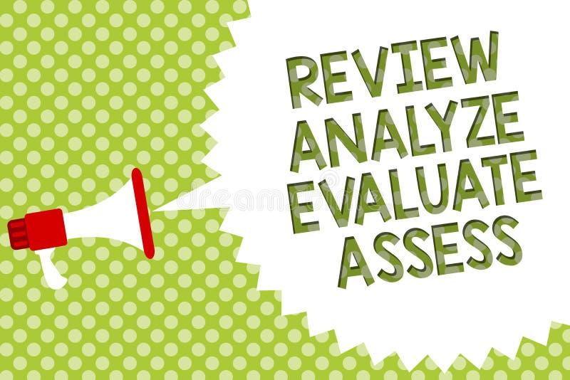 El comentario del texto de la escritura de la palabra analiza evalúa evalúa Concepto del negocio para la evaluación del loudsp de ilustración del vector