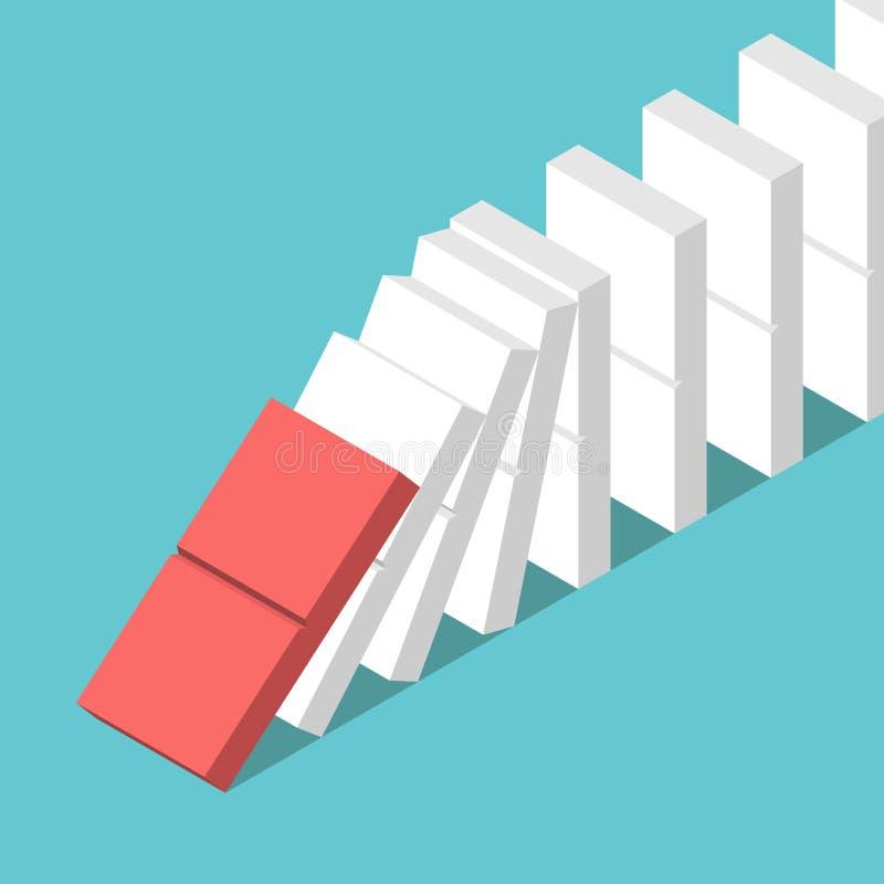 El comenzar del efecto de dominó stock de ilustración